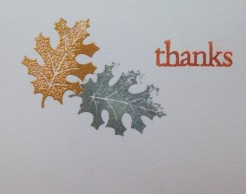 card thanks fall leaves