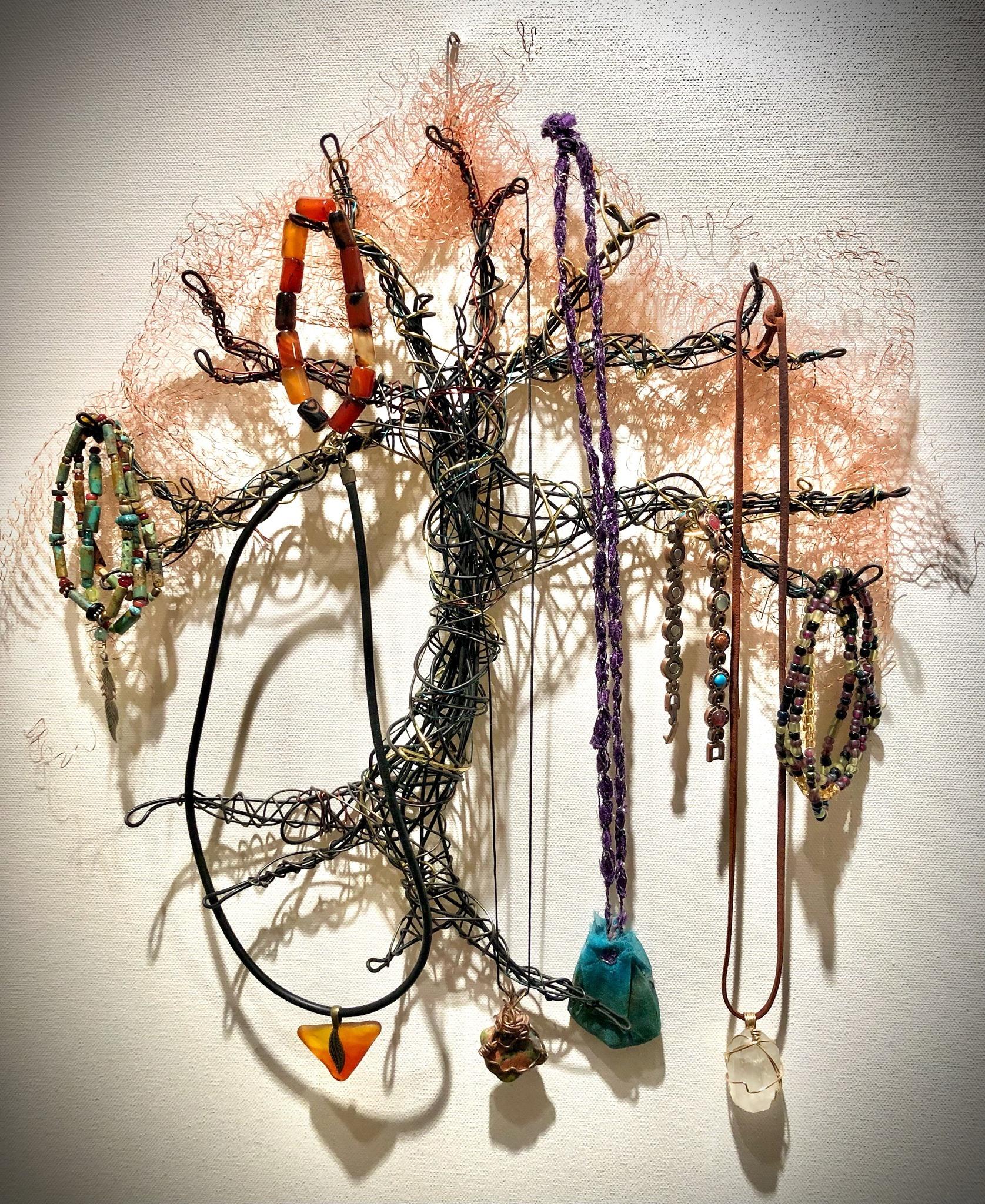 Wire wrap tree with jewelry